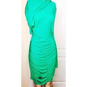 Emerald green long sleeve midi